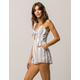 SKY AND SPARROW Stripe Knot Front White Womens Romper
