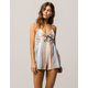 SKY AND SPARROW Stripe Knot Front Womens Romper