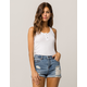 SKY AND SPARROW Ribbed Henley White Womens Tank Top