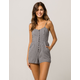 SKY AND SPARROW Gingham Button Womens Romper