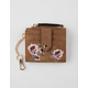 VIOLET RAY Rose Embroidered Cognac Mini Cardholder Keychain