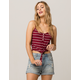 SOCIALITE Stripe Tie Front Burgundy Womens Tank Top