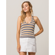 SKY AND SPARROW Stripe Navy Womens Halter Top