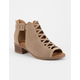 SODA Lattice Peep Toe Taupe Girls Heeled Sandals