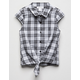 WHITE FAWN Gingham Tie Front Girls Top