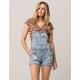 ALMOST FAMOUS Roll Cuff Ripped Womens Denim Shortalls