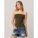 BOZZOLO Cinched Side Olive Womens Tube Top
