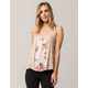 POLLY & ESTHER Floral Babydoll Womens Tank Top