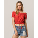 SKY AND SPARROW Eyelet Off The Shoulder Womens Crop Top