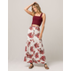 SKY AND SPARROW Rose Button Front Maxi Skirt