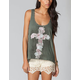 FULL TILT Floral Cross Womens Studded Tank