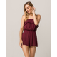 SKY AND SPARROW Tube Button Front Womens Romper