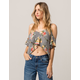 POLLY & ESTHER Floral Stripe Womens Cold Shoulder Top