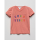 WHITE FAWN Good Vibes Coral Girls Tee