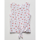 WHITE FAWN Cherry Tie Front Girls Tank Top