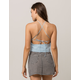IVY & MAIN Eyelet Cross Back Light Blue Womens Top