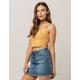 IVY & MAIN Stripe Button Front Mustard Womens Crop Tank