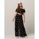 SKY AND SPARROW Floral Button Front Crop Top And Maxi Skirt Set