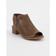 SODA Perforated Block Heel Light Brown Womens Booties