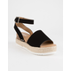 SODA Topic Black Womens Espadrille Flatform Sandals