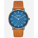 NIXON Porter Leather Navy & Gunmetal Watch
