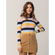 SKY AND SPARROW Ribbed Stripe Womens Sweater