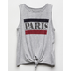 WHITE FAWN Paris Tie Front Girls Tank Top