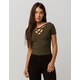 HEART & HIPS Ribbed Criss Cross Olive Womens Tee