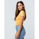BOZZOLO Varsity Stripe Mustard Womens Ringer Crop Tee