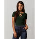 HEART & HIPS Ribbed Criss Cross Dark Green Womens Tee