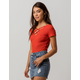 HEART & HIPS Ribbed Criss Cross Red Womens Tee