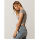 BOZZOLO Ribbed V-Neck Heather Gray Womens Crop Tee