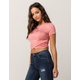 HEART & HIPS Cinched Wrap Front Blush Womens Crop Tee