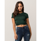 HEART & HIPS Cinched Wrap Front Dark Green Womens Crop Tee