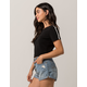 HEART & HIPS Sleeve Stripe Black Womens Crop Tee