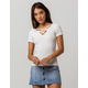 HEART & HIPS Ribbed Criss Cross White Womens Tee