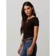 HEART & HIPS Ribbed Criss Cross Black Womens Tee