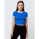 BOZZOLO Varsity Stripe Royal Womens Ringer Crop Tee