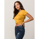 HEART & HIPS Cinched Wrap Front Mustard Womens Crop Tee