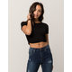 HEART & HIPS Cinched Wrap Front Black Womens Crop Tee