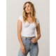 BOZZOLO Ribbed V-Neck White Womens Crop Tee