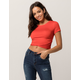 HEART & HIPS Cinched Wrap Front Red Womens Crop Tee