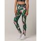 ADIDAS Palm Print Pink & Green Womens Leggings