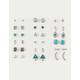 FULL TILT 20 Pairs Feather, Turquoise & Rhinestone Stud Earrings