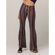 SKY AND SPARROW Linear Floral Print Womens Flared Pants