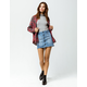 SKY AND SPARROW Button Front Denim Mini Skirt