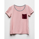 FULL TILT Color Block Pink Girls Pocket Tee