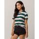FULL TILT Essentials Stripe Dark Green Womens Tee