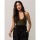 BOZZOLO Ribbed Crop Olive Womens Halter Top
