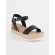 SODA Clip Black Womens Espadrille Flatform Sandals